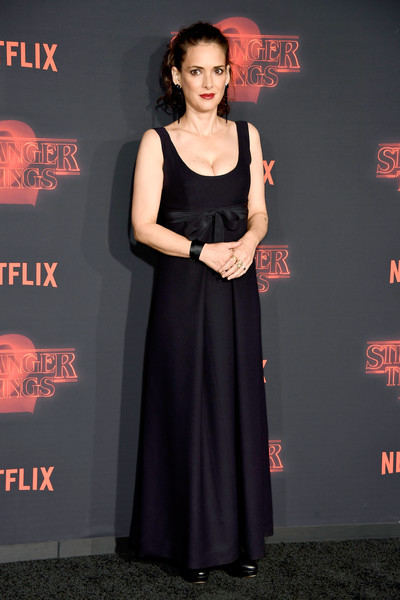 Winona Ryder was prom-chic in a bow-adored black gown at the premiere of 'Stranger Things' season 2.