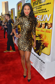 Joy looked fierce in her leopard mock-neck dress at the premiere of 'Hit and Run' in LA.