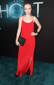 Francesca Eastwood kept her red carpet look simple and elegant with this red column-style gown.