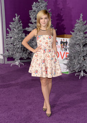 Kiernan Shipka looked downright sweet in a mesh-panel floral dress by RED Valentino during the premiere of 'Justin Bieber's Believe.'