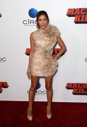 Fernanda Romero looked fabulous in a frilly nude cocktail dress during the premiere of 'Machete Kills.'