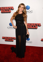 Sofia Vergara glammed it up in a black evening dress with a beaded bodice and a sheer skirt during the 'Machete Kills' premiere.