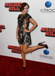 Karina Smirnoff flashed some side boob in a sultry silver and black mini dress at the 'Machete Kills' premiere.