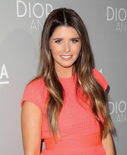 Katherine Schwarzenegger wore her hair loose with a center part and just a hint of wave during the 'Dior and I' premiere.