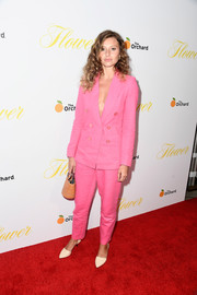 Alyson Michalka donned a loose pink pantsuit for the premiere of 'Flower.'