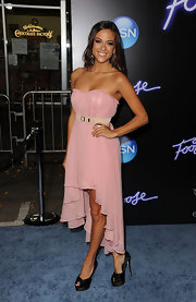 Jana Kramer rocked a romantic look at the 'Footloose' premiere in a strapless pink chiffon high-low dress.
