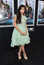 Elodie Young chose this sea foam green dress with a full ruffled skirt for her delicate, feminine look while at the 'G.I. Joe: Retaliation' red carpet.