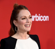 Julianne Moore styled her hair into a half-up knot for the premiere of 'Suburbicon.'
