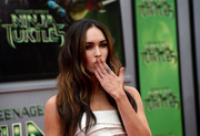 Megan Fox rocked a black French manicure combined with a half moon at the premiere of 'Teenage Mutant Ninja Turtles.'