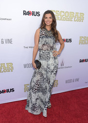 Ali Landry attended the premiere of 'Escobar: Paradise Lost' wearing a monochrome animal-print maxi dress.