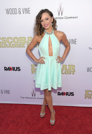 Karina Smirnoff completed her red carpet ensemble with a pair of silver platform sandals.
