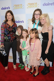 Marcia Gay Harden was seen at the premiere of 'Mirror Mirror' wearing a print long-sleeve top and some jeans.