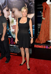 Nadja Swarovski looked very curvy in a low-cut fit-and-flare LBD during the premiere of 'Romeo and Juliet.'
