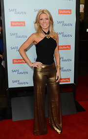 Gretchen Rossi rocked metallic gold wide leg pants at the 'Safe Haven' premiere in Hollywood.