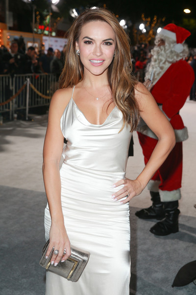More Pics of Chrishell Stause Cocktail Ring  (1 of 6) - Chrishell Stause Lookbook - StyleBistro [clothing,white,dress,shoulder,beauty,lady,fashion model,fashion,cocktail dress,hairstyle,chrishell stause,california,los angeles,stx entertainment,red carpet,premiere,a bad moms christmas,premiere]