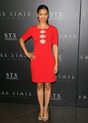 Gugu Mbatha-Raw dazzled at the premiere of 'Free State of Jones' in a scarlet Jenny Packham dress with a trio of cutouts down the front.