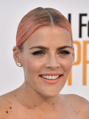 Busy Philipps styled her pink-dyed hair into a slick ponytail for the premiere of 'I Feel Pretty.'