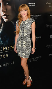 Bella got graphic with a black-and-white stain glass-print shift dress at the premiere of 'The Mortal Instruments: City of Bones.'