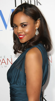 Sharon Leal attended the premiere of 'Think Like a Man' wearing a pair of beautiful black and white diamond tear drop earrings.