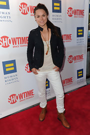 Whitney Mixter walked the red carpet in brown lace up boots at the premiere of 'The Real L World.'