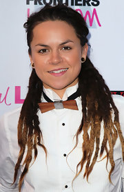 Whitney Mixter topped off her look with tied-back dreadlocks.