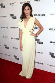 Moran Atias was sexy yet elegant in a white Grecian gown by Vionnet during the 'Third Person' premiere.