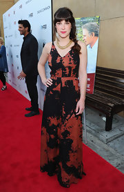Lindsay Sloane wore this painterly black and red gown to the 'Darling Companion' premiere.