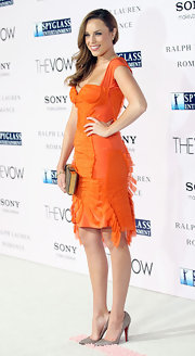 Jessica McNamee paired her ruffled cocktail dress with classic pumps.