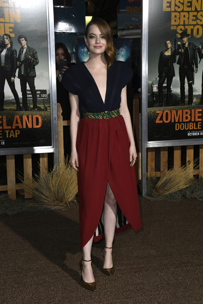 Emma Stone looked lovely in a color-block cocktail dress by  Louis Vuitton at the premiere of 'Zombieland Double Tap.'