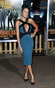 Dania Ramirez looked va-va-voom in a teal and black cutout dress by Michael Costello x Revolve at the premiere of 'Zombieland Double Tap.'