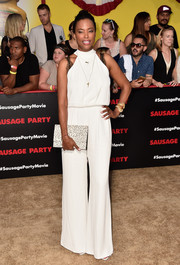 Aisha Tyler donned a loose white halter jumpsuit for the premiere of 'Sausage Party.'