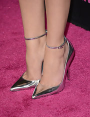 Ashley Benson chose these slender ankle strap stilettos for her evening look while at the 'Spring Breakers' premiere.
