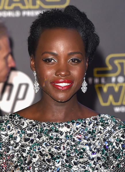 Lupita Nyong'o rocked an elaborately sculpted updo at the 'Star Wars: The Force Awakens' premiere.