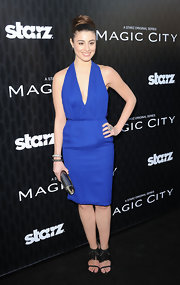 Dominik Garcia-Lorido stepped out in this royal blue cocktail dress for the 'Magic City' premiere.
