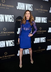 Allison Holker looked alluring in a royal-blue lace-bodice bandage dress at the premiere of 'John Wick: Chapter 2.'