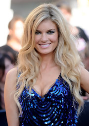 Super model Marisa Miller showed off her runway ready curls while walking the red carpet in her blue sequin dress.