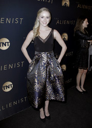 Greer Grammer donned a fitted, sheer-panel top for the premiere of 'The Alienist.'