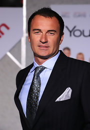 Julian McMahon looked elegant at the 'You Again' premiere in his black tie, blue button-down, and iridescent gray floral tie.