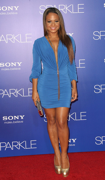 Christina Milian in a Blue Gathered Mini