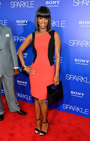 Tasha kept the color-blocking trend alive in this black and salmon cocktail dress at the 'Sparkle' premiere.