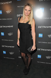Genevieve Morton's black ankle boots at the 'Detachment' premiere were an edgy complement to her sexy bandage dress.