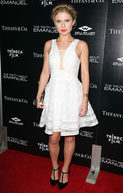 Rose McIver looked peachy in a white fit-and-flare cocktail dress at the premiere of 'The Truth About Emanuel.'