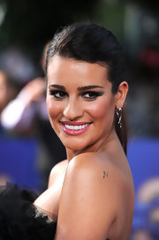 Lea Michele looked flirty and chic in her LBD at the premiere of 'Glee The 3D Concert Movie.' She finished off the look with a glossy pink pout and dramatic smoky eyes.