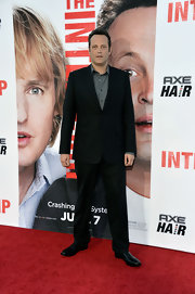 Vince Vaughn sported a classic black suit at the premiere of 'The Internship.'