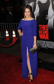 Sophia Bush topped off her cobalt blue gown with black strappy sandals.