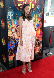 Nude Jimmy Choo strappy sandals added a dose of sexiness to Zoe Saldana's maternity look.