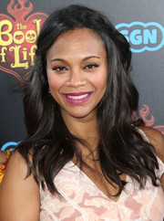 Pretty mom-to-be Zoe Saldana sported a sweet half-up hairstyle with subtle waves at the 'Book of Life' premiere.