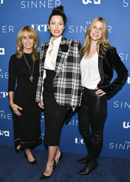 More Pics of Jessica Biel Hair Knot (1 of 19) - Updos Lookbook - StyleBistro [red carpet,the sinner,clothing,fashion,premiere,outerwear,plaid,event,footwear,electric blue,long hair,tartan,dawn olmstead,jessica biel,bonnie hammer,l-r,the london west hollywood,usa network,premiere,season,jessica biel,the sinner,getty images,stock photography,photography,photograph,image,celebrity,royalty-free]