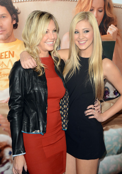 Heather cozied up to her daughter in this cool black leather jacket at the premiere of 'This is 40.'
