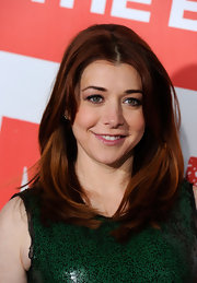Alyson Hannigan attended the premiere of 'American Reunion' wearing her rich copper tresses in smooth voluminous layers.